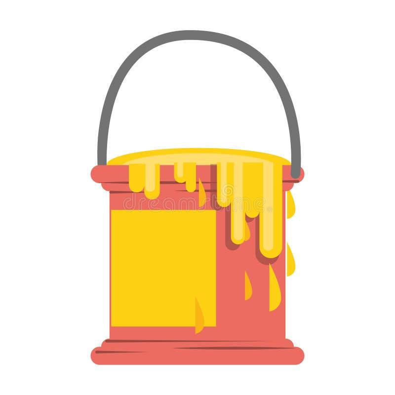 Paint bucket ith splash symbol isolated. Illustration editable image vector illustration