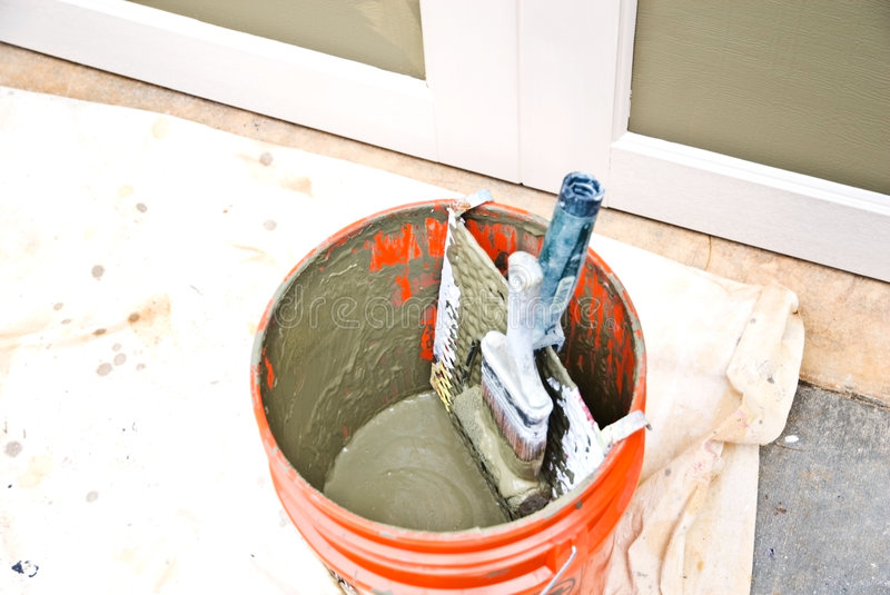 Paint Bucket, Roller and Brush royalty free stock image