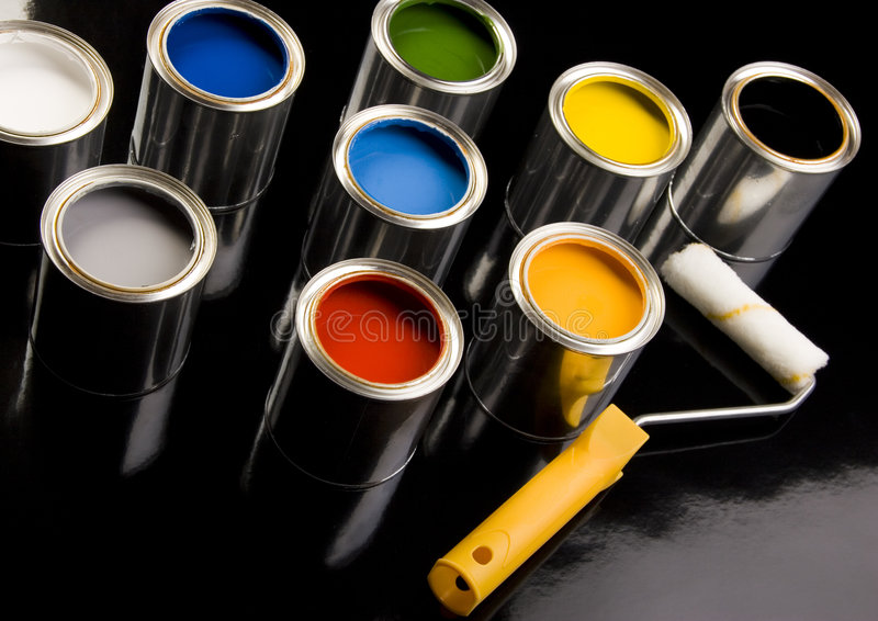 PAINT CAN. Let your world be colourful stock image