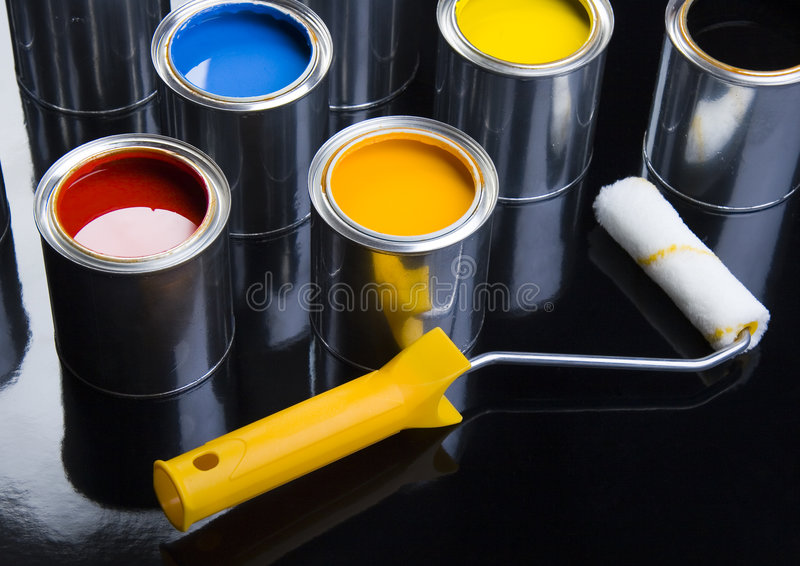 PAINT CAN. Let your world be colourful stock photo