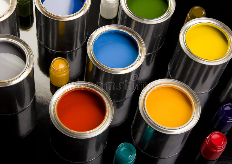 PAINT CAN. Let your world be colourful royalty free stock photo