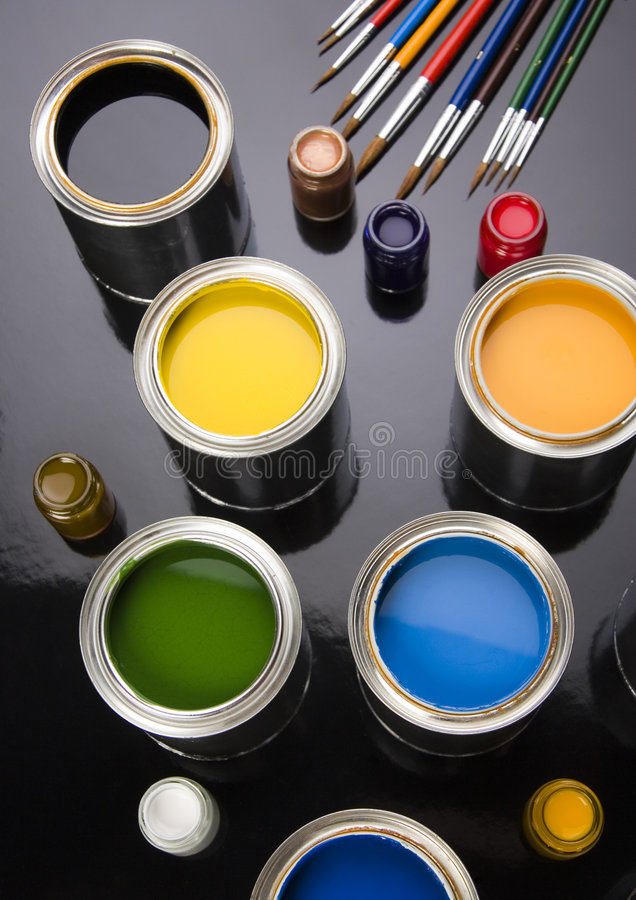 PAINT CAN. Let your world be colourful stock images