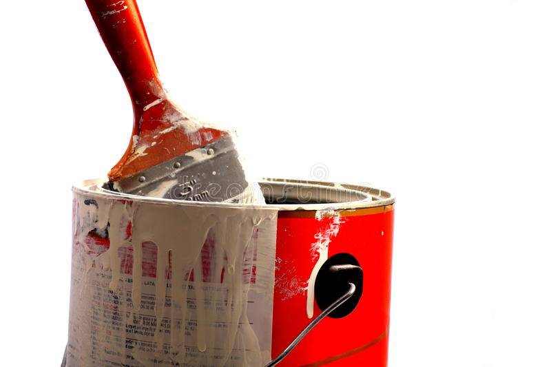 Paint can with brush. A paint can with a brush royalty free stock images