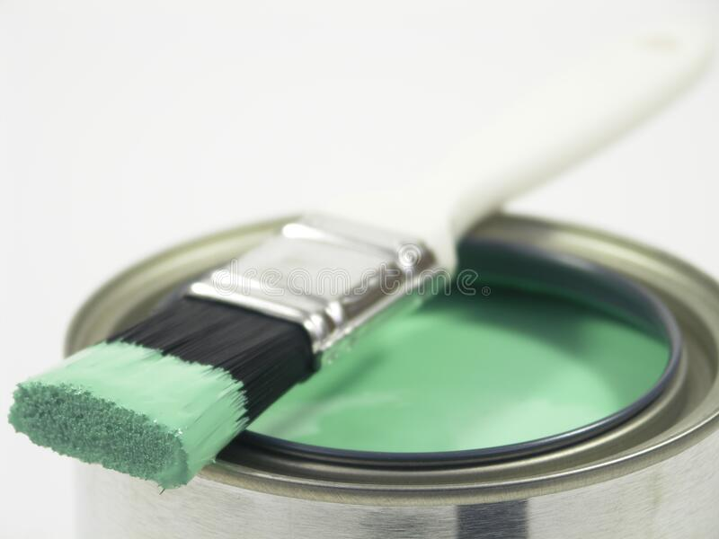 Paint can and brush royalty free stock images