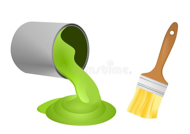 Paint can and brush. Vector illustration of brush and spilled paint isolated vector illustration