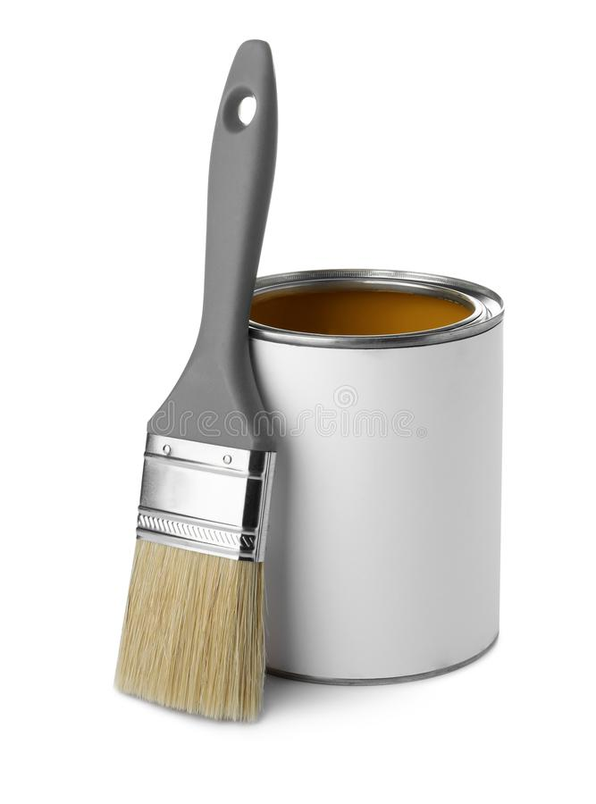 Paint can and brush. On white background royalty free stock photos