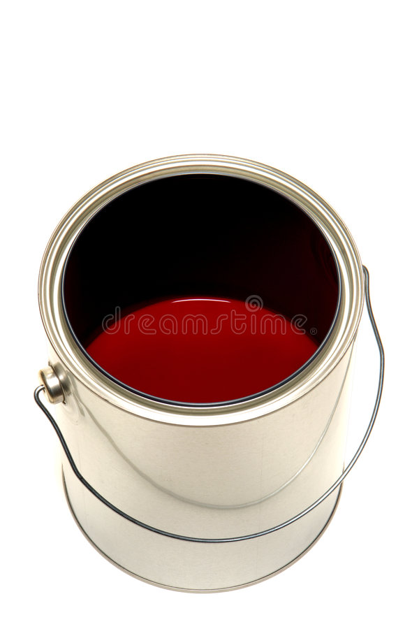 Paint Can With Red Color Mix Isolated On White Stock Photography
