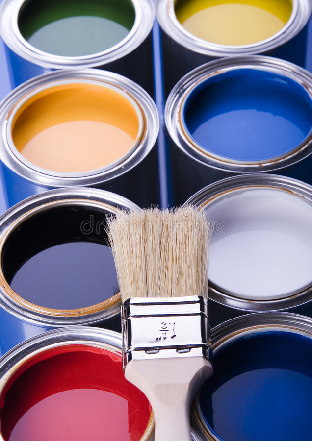 Download Paint and cans stock photo. Image of paintbrush, brush - 2474856