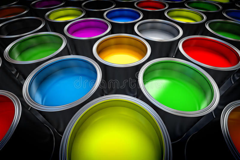 Paint cans. Close up image