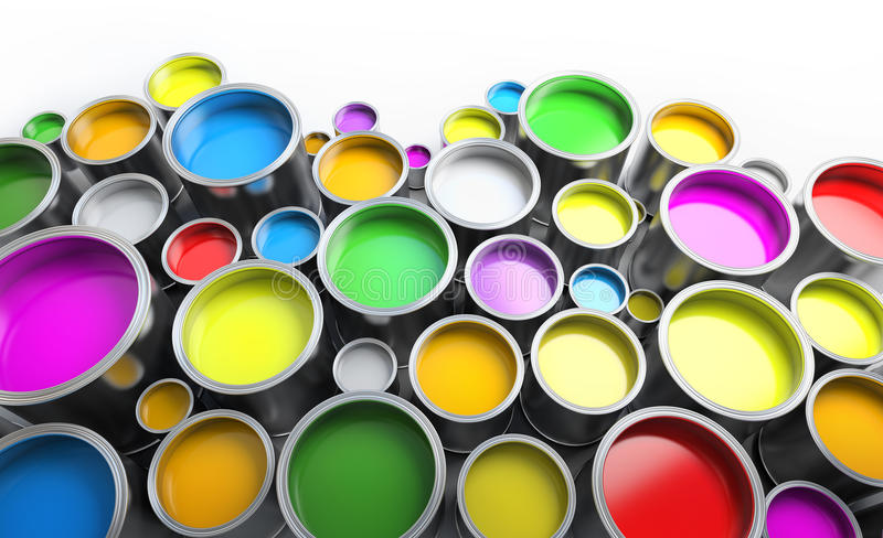 Paint cans. Colored paint cans close up