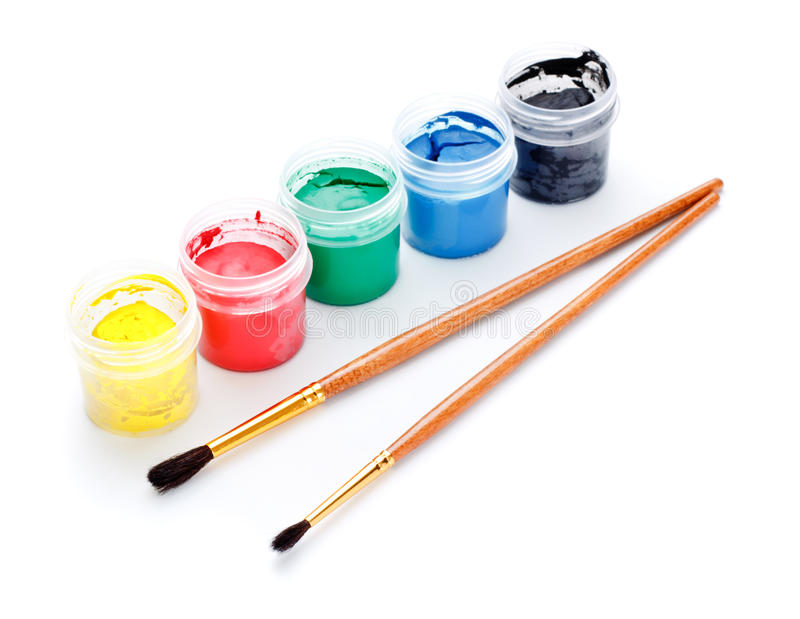 Download Paint Cans and Brushes stock image. Image of colors, color - 18772885
