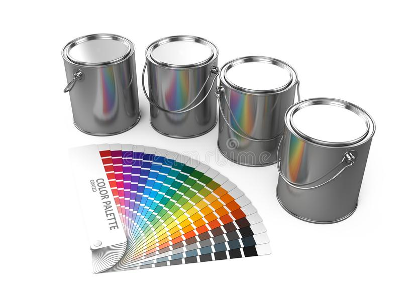 Paint cans and Color palette guide isolated on white background. 3d render stock photo