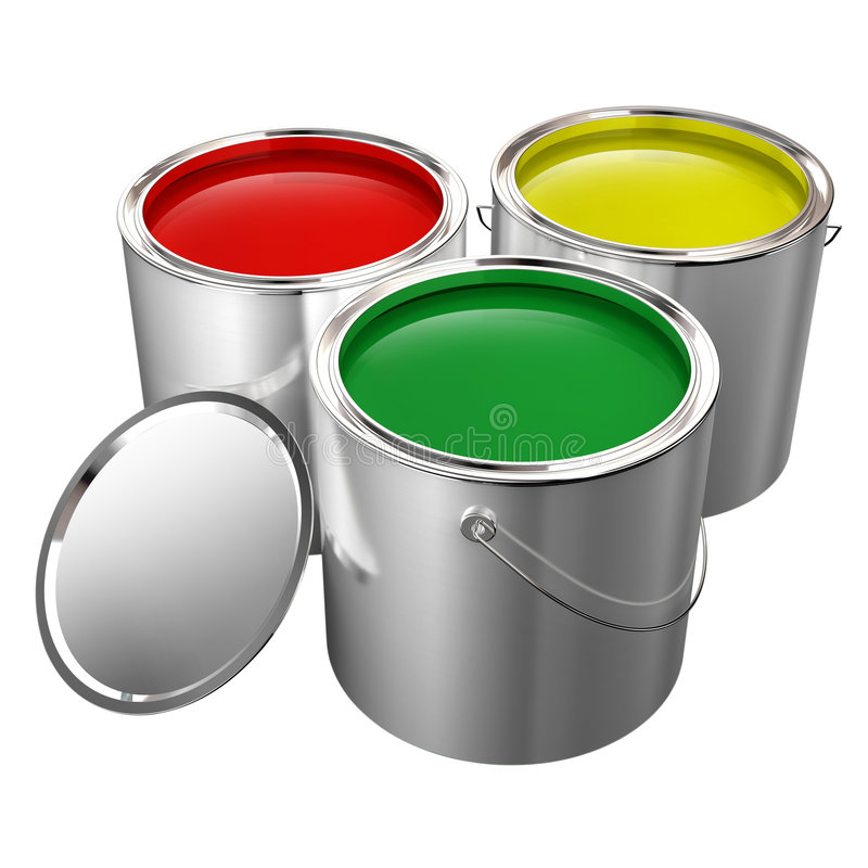Paint cans isolated