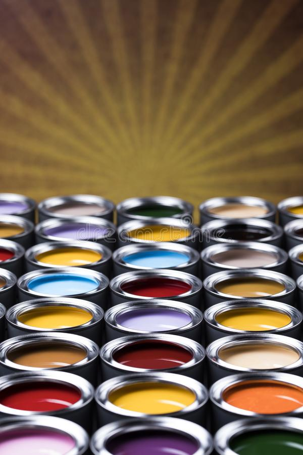 Paint cans palette, Creativity concept royalty free stock image