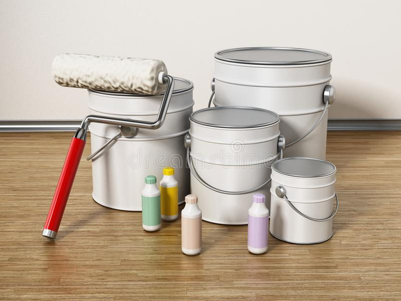 Paint cans, roller and color tubes standing on hardwood floor. 3D illustration vector illustration
