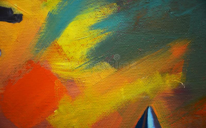PAINT ON THE CANVAS. WITH BRUSH AND MI SIC. royalty free stock photography