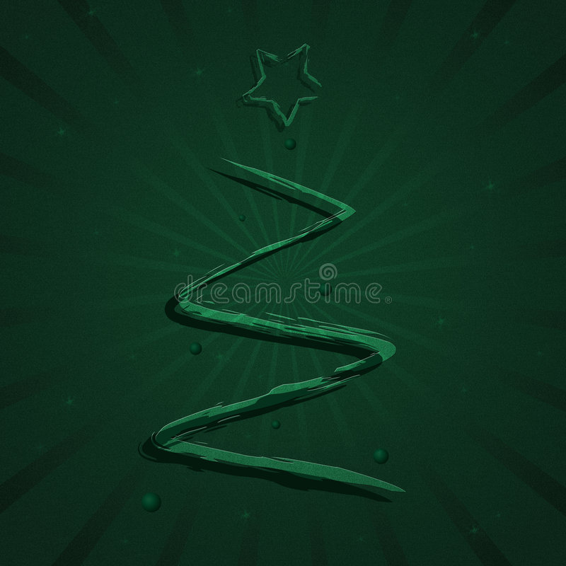 Paint Christmas Tree. Graphic illustration of an abstract Christmas tree with star and ornaments against a green starburst background with sparkles stock illustration