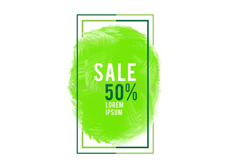 Green watercolor circle paint with frame, Grunge circle, icon design, Hand drawn design elements, vector brush strokes. Sale banner royalty free illustration