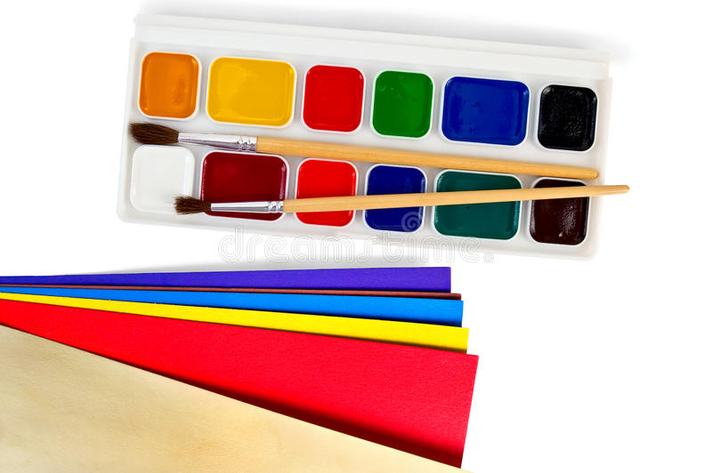 Paint with colored paper royalty free stock images