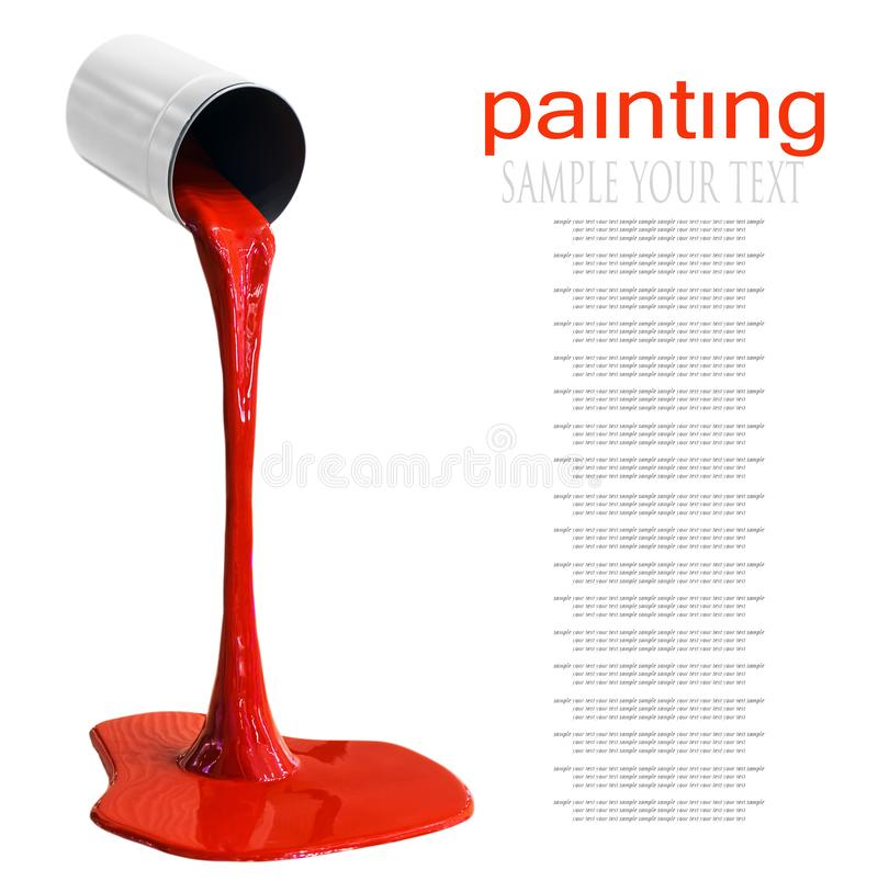 Paint for coloring is poured from can isolated. On a white background. Text deleter royalty free stock image