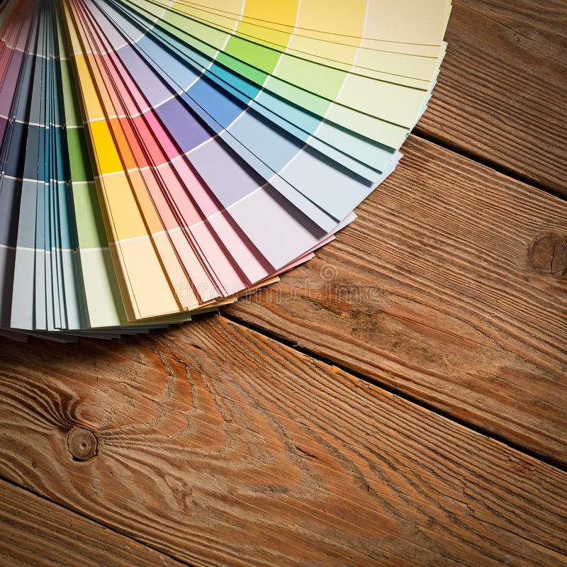 Paint Colour Palette. On a wooden surface royalty free stock image