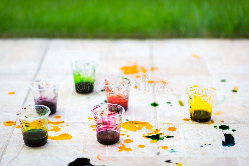 Paint cups royalty free stock photography