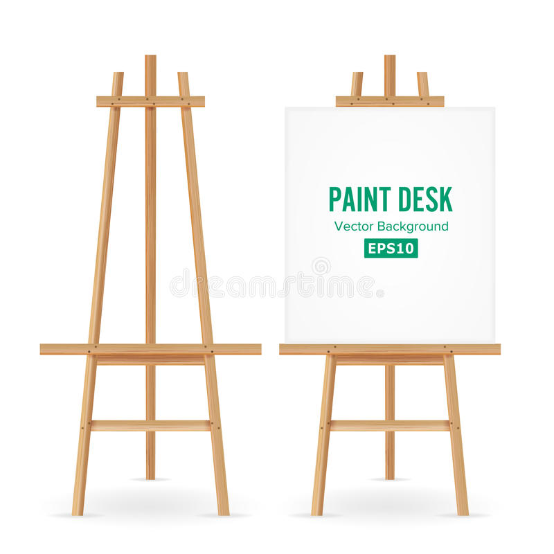 Paint Desk Vector. Artist Easel Set With White Paper. Isolated On White Background. Realistic Painter Desk Blank Canvas On paintin stock illustration