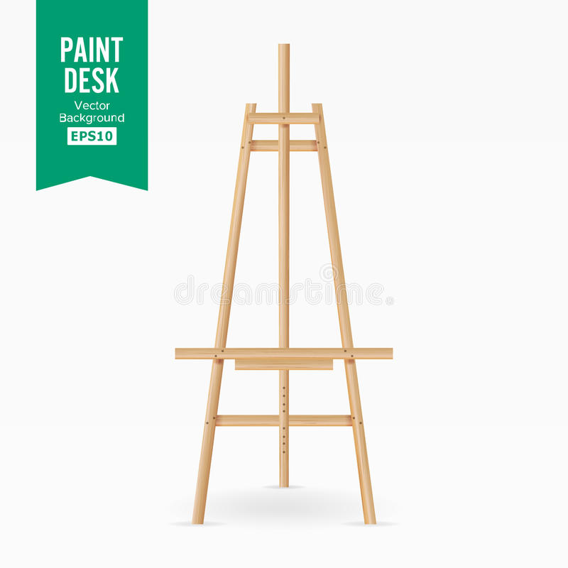 Paint Desk Vector. Wooden Easel With Empty White Paper. Isolated On White Background. Realistic Painter Desk Set. Drawing Whiteboa vector illustration