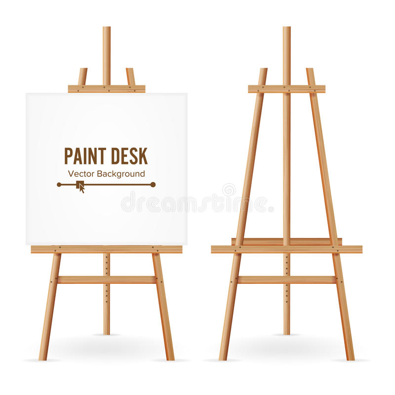 Paint Desk Vector. Wooden Easel Template With White Paper. Isolated On White Background. Realistic Painter Desk Set. Blank Space F. Or Design vector illustration