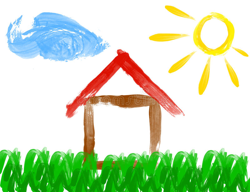 Paint drawing of house and sun - made by child stock illustration