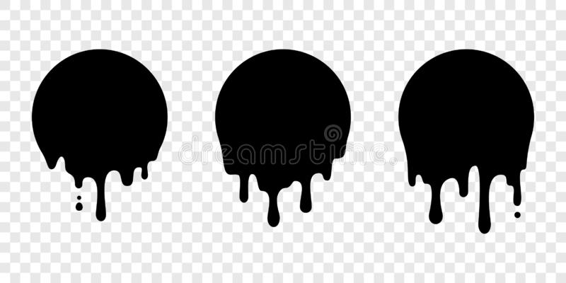 Paint drip sticker circle label vector liquid drop royalty free illustration
