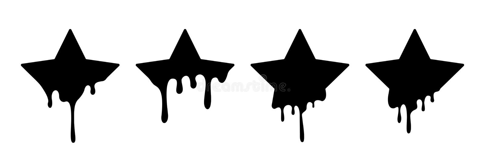 Paint drip stickers or star labels. Vector liquid drops icons for graffiti blob stickers royalty free illustration