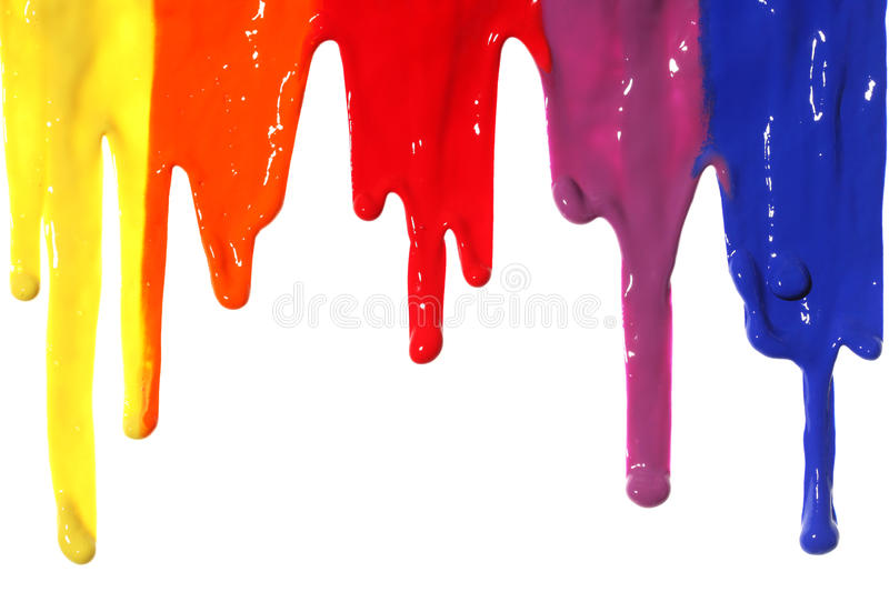 Paint dripping. Different colors of paint dripping stock image