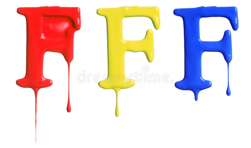 Paint dripping alphabet. With 3 different variations in red, yellow, and blue stock photography