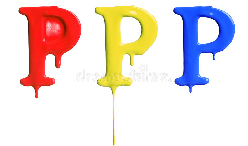 Paint dripping alphabet. With 3 different variations in red, yellow, and blue royalty free stock photography