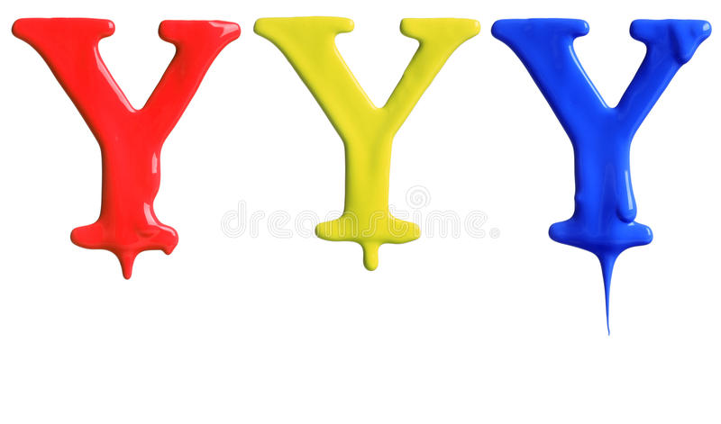 Paint dripping alphabet. With 3 different variations in red, yellow, and blue stock images