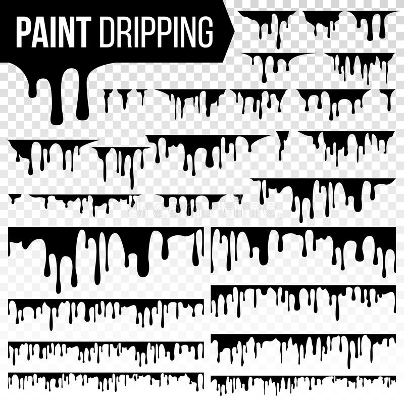 Paint Dripping Liquid Set Vector. Abstract Ink, Paint Splash. Various Blood Splatters. Chocolate, Syrup Leaking. Flows stock illustration