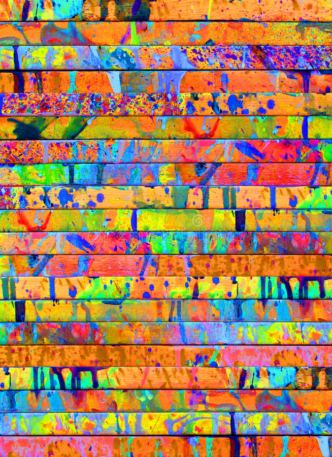 Paint Drips. A collection of wood slats covered with rich colored paint spills stock photography