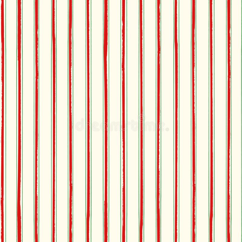 Paint effect Christmas stripe design in red and green. Seamless geometric vector pattern on cream white background royalty free illustration