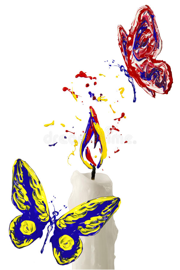 Paint flame on the candle and red yellow blue butterfly flying a. Red yellow paint flame on the candle and red yellow blue butterfly flying above vector illustration