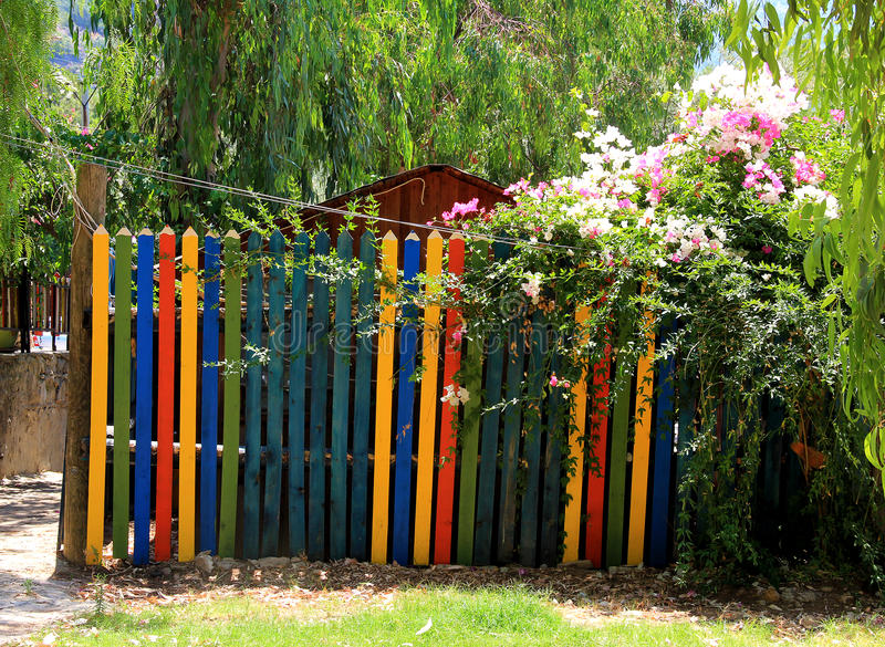 Paint garden gate stock image of nature
