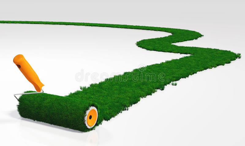 Paint a grassy path. A paint roller with an orange handle, is painting a grassy path on a white ground using lawn instead a colour vector illustration