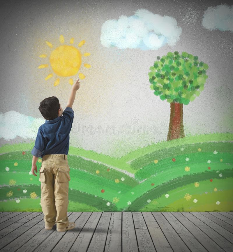 Download Paint a gray day stock image. Image of child, classroom - 37241295