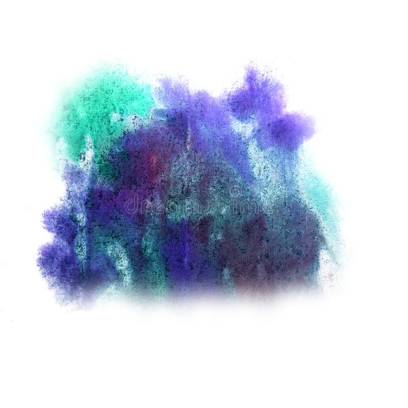 Paint green, blue, cherry splash ink blot and white abstract ar. T brushes isolated stock images