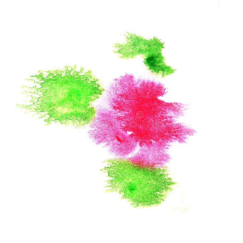 Paint green, pink splash ink blot and white abstract art brushe. S isolated royalty free stock photography