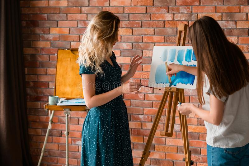 Paint lesson art class skill watercolor technique. Painting lessons and art classes. learning to draw. skill improvement and watercolor technique mastering stock photography