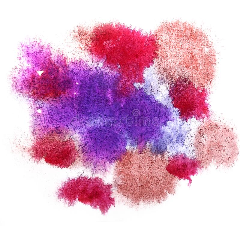 Paint lilac, cherry, brown splash ink blot and white abstract a. Rt brushes isolated stock image