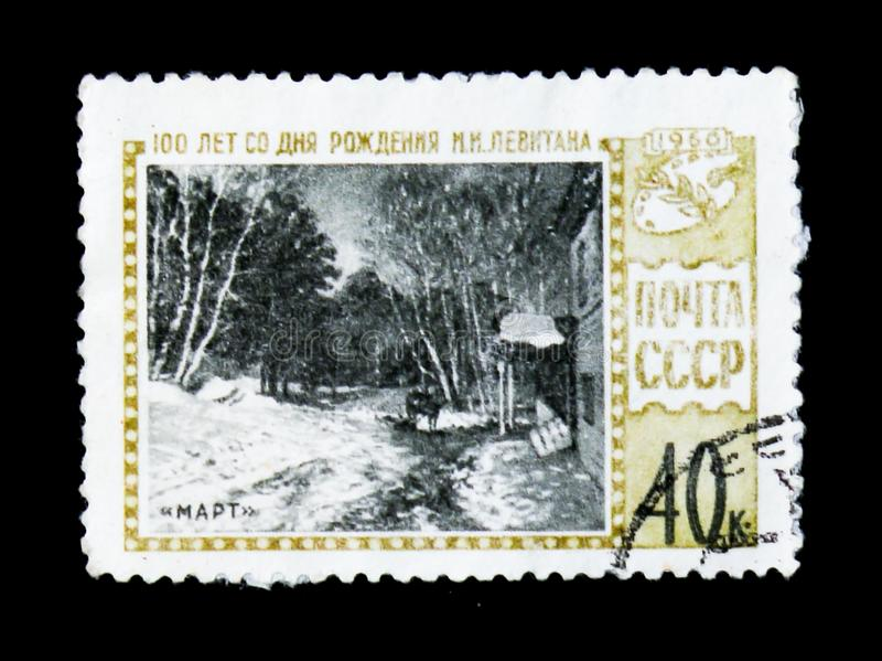 Paint `March` of artist Isaak Levitan, 100 years of birth anniversary, circa 1961. MOSCOW, RUSSIA - JUNE 26, 2017: Rare stamp printed in USSR Russia shows paint royalty free stock photo