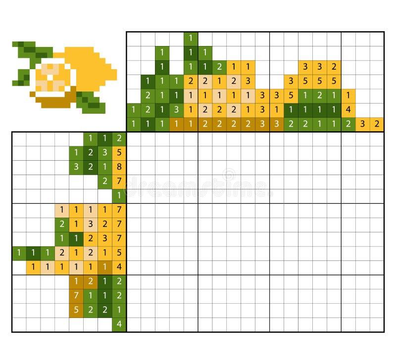 Paint by number puzzle nonogram, Lemon vector illustration