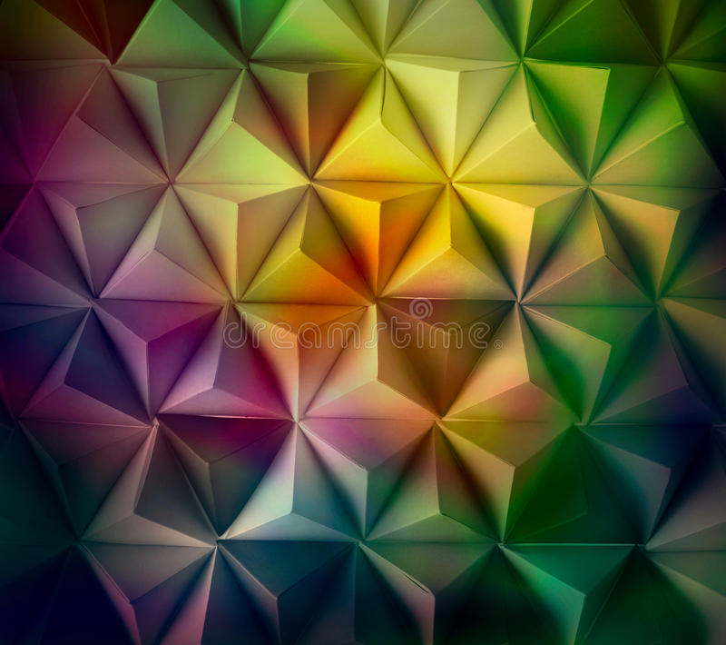 Paint. Origami tetrahedrons background multi colored stock images
